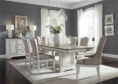 Abbey Park Trestle Table 7 Piece Dining Set In Antique White