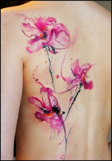 Abstract Flower Watercolor Tattoo On Back For Girl Lace Tattoo