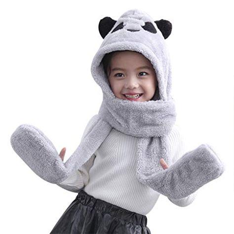 Enfant Chapeu Panda en Peluche écharpe Gant Chapeau Bonnet Capuche Écharpe  Gants Casquette Chapeau Animal pour Adulte Enfant e53b07b4947