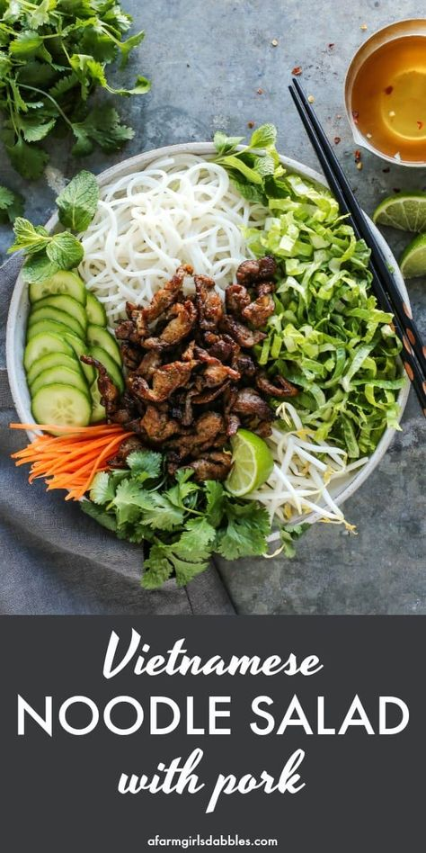 Noodle Salad with Pork from - A fresh and easy recipe for a traditional Vietnamese salad featuring rice noodles crunchy vegetables herbs and quick-seared pork with big bold flavor. Served with a rice vinegar dressing to bring it all together. Pork Recipes, Asian Recipes, Cooking Recipes, Healthy Recipes, Ethnic Recipes, Healthy Vietnamese Recipes, Easy Recipes, Healthy Japanese Recipes, Oven Recipes