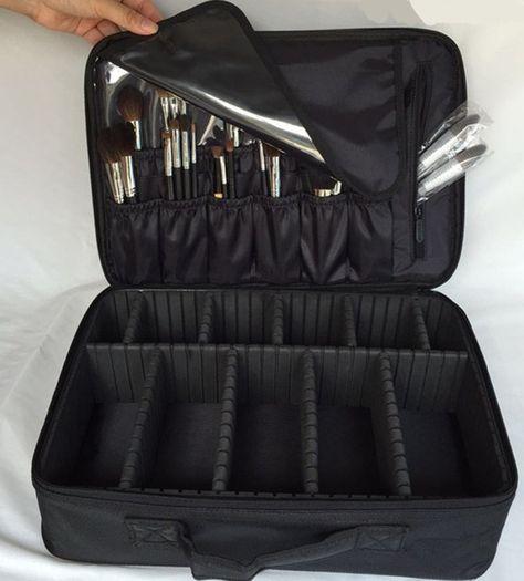 Cosmetic Makeup Case Bag Black Pro Travel Jewelry Box Artist Organizer
