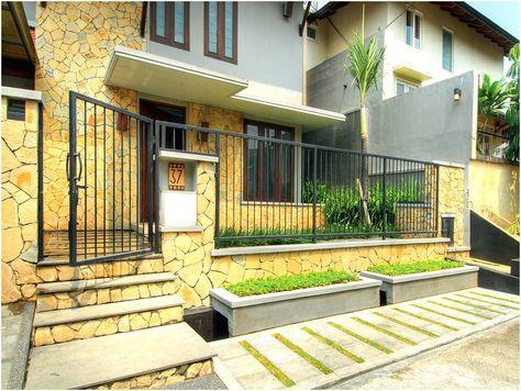 terbaru desain pagar rumah minimalis batu alam warna