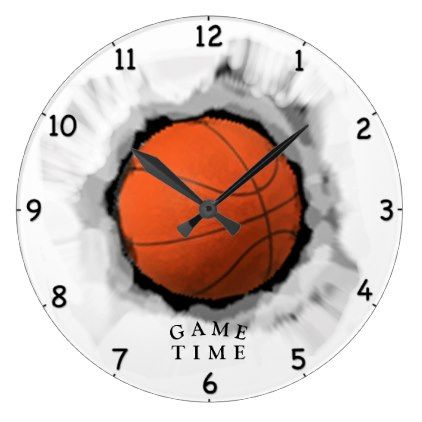 Basketball Game Time Large Clock Decor Gifts Diy Home Living Cyo Giftidea Basketball Game Time Basketball Games Game Time