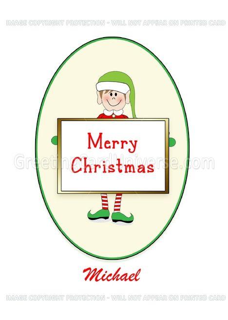 Custom Name Template Christmas Card Elf Holding Merry Christmas Sign Card Ad Sponsored Christmas Card Template Merry Christmas Sign Christmas Templates