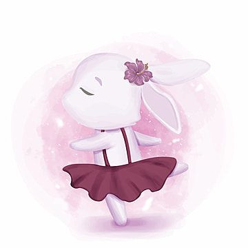 Bunny Girl Dancing Like Ballerina Bunny Clipart Adorable Animal Png And Vector With Transparent Background For Free Download Vector Illustration Character Black And White Cartoon Cartoons Vector