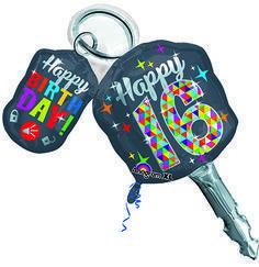 Happy 16 Key Mylar Balloon Sweet 16 Party Store Boy 16th