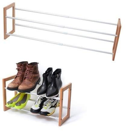 Innoka 2 Tier Expandable Shoe Rack Up To 12 Pair Shoe Rack Space Saving Adjustable Wooden And Aluminum Shoes Rack E In 2020 Shoe Rack Stackable Shoe Rack Shoes