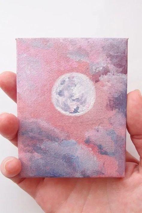 Acrylic Miniature Moon Painting - Acrylic Miniature Moon, Pink Art with Glitter, Celestial Best Friend Gift, Mini Full Moon Art, Luna - Simple Canvas Paintings, Small Canvas Art, Easy Canvas Painting, Mini Canvas Art, Moon Painting, Mini Paintings, Painting Art, Acrylic Paintings, Acylic Painting Ideas