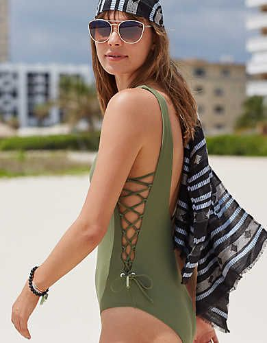 Aerie Lace Up Side One Piece Swimsuit Olive Aerie For American Eagle Swimsuits Outfits Cute One Piece Swimsuits One Piece