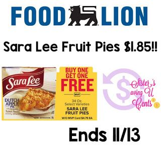 Sisterssavingucents Sara Lee Fruit Pies 1 85 At Food Lion