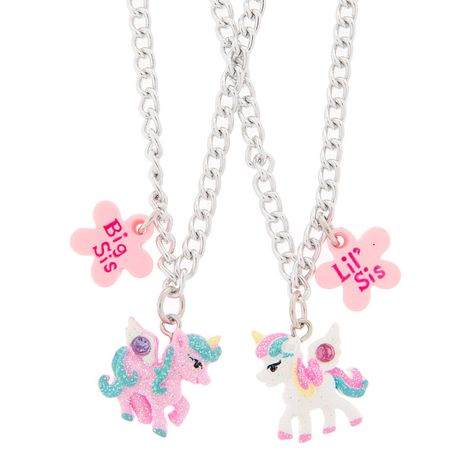 Show your little sister how much you care for her by giving her a matching necklace. Both pieces come with a unicorn charm in either pink or white.