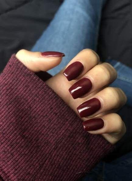 52 New Ideas For Fails Design Burgundy Deep Red Burgundy Acrylic Nails Squoval Nails Red Nails