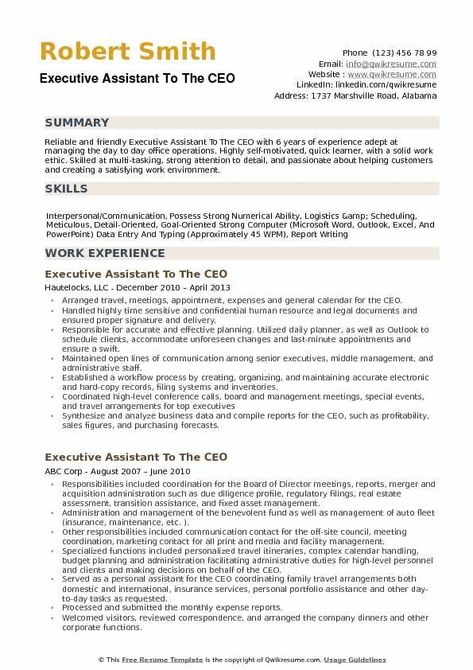 Executive Assistant To The Ceo Resume Samples Qwikresume Executive Assistant Resume Summary Examples Resume Examples