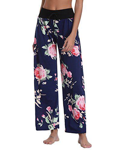 Pantalon Femme Pyjama Ample Elastique dint/érieur Jogging D/étente Fluide Et/é L/éger Yoga Pants Grande Taille Chic Floral Imprim/é Jambe Large Pantalon de Sport D/écontract/é Amincissant L Bleu Marine