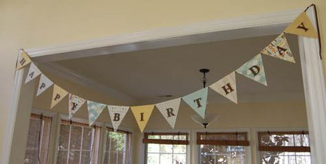 Great tutorial! How to Make a Paper Bunting. I cut my letters out of paper instead, but this made the whole process so easy!