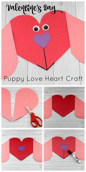 Puppy Love Preschool Heart Craft To Make This Valentine S Day Heart Crafts Preschool Valentine S Day Crafts For Kids Preschool Valentines
