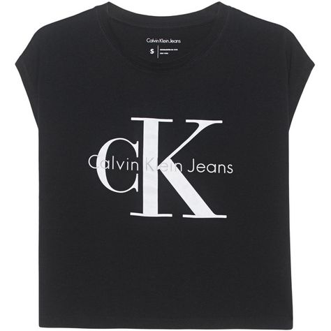 4873181101c2 CALVIN KLEIN JEANS True Icon Taka Black // Short T-shirt with label...  ($53) ❤ liked on Polyvore featuring tops, t-shirts, cotton crop top, crop t  shirt, ...