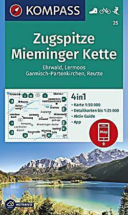 Kompass Wanderkarte Zugspitze Mieminger Kette Ehrwald Lermoos