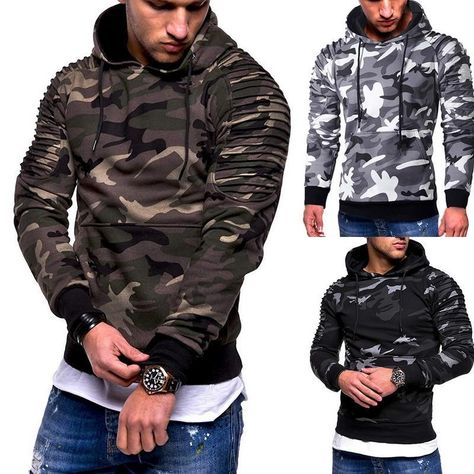 Men/'s Winter Slim Camo Hoodie Warm Hooded Sweatshirt Coat Jacket Outwear Sweater