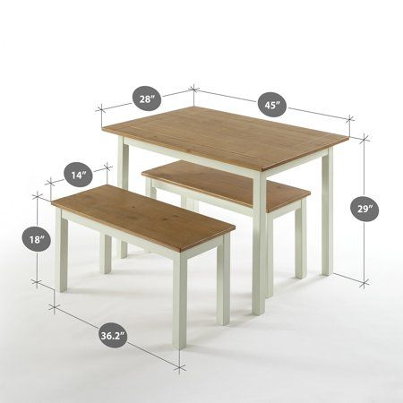 Zinus Becky Farmhouse Dining Table With Two Benches 3 Piece Set Walmart Com Farmhouse Dining Table Farmhouse Dining Table Set Rectangular Dining Room Table