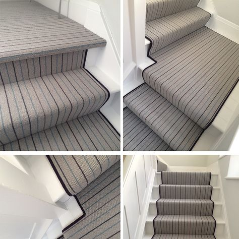 Expertly Fitted 100 Wool Carpet With Black Edge Detail To The Runner Carpet Stairs Buying Carpet Stair Carpet Rods
