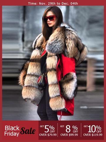Big Automatic Coupons Black Friday Sale Faux Fur Overcoat Colorful Faux Fur Coat Overcoats