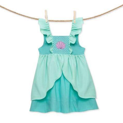 Ariel NEW boutique * Smocked mermaid princess Flutter Sleeve Dress