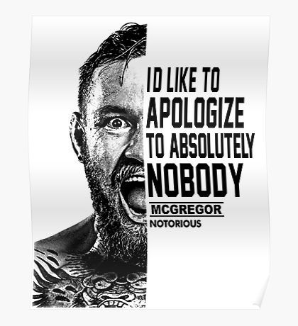 Conor Mcgregor Quote Posters Conor Mcgregor Quotes Half Face Quotes Quote Posters