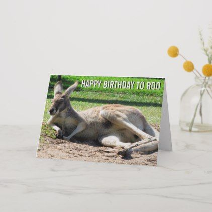 Kangaroo Happy Birthday To Roo Card Zazzle Com Funny Birthday Cards Cards Personal Cards