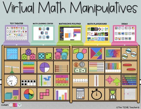 A Collection of Virtual Math Manipulatives Google Classroom, Math Classroom, Online Classroom, Classroom Ideas, Future Classroom, Flipped Classroom, Math Resources, Math Activities, Mental Math Strategies