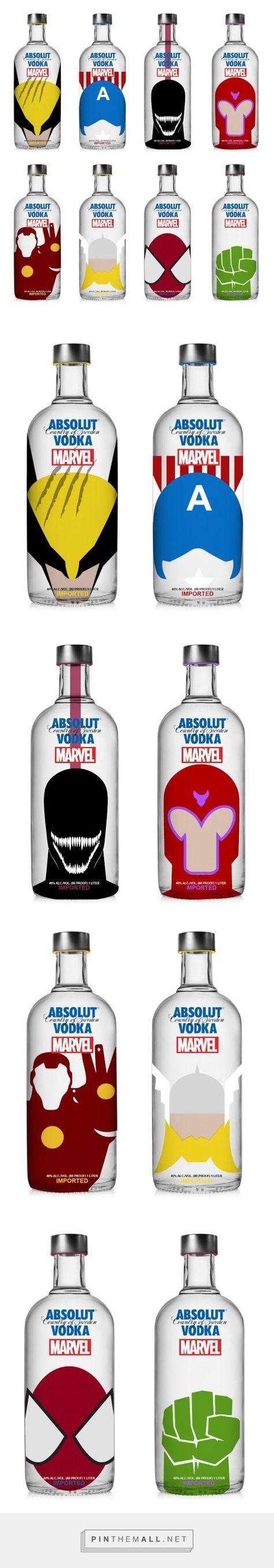 Absolut Vodka x Marvel Concept designed by Krizia Soetaniman - http://www.packagingoftheworld.com/2015/11/absolut-vodka-x-marvel-concept.html