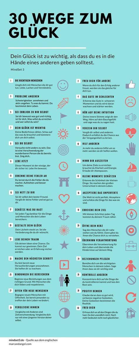 30 Tipps wie du dein Glück selbst in die Hand nimmst.