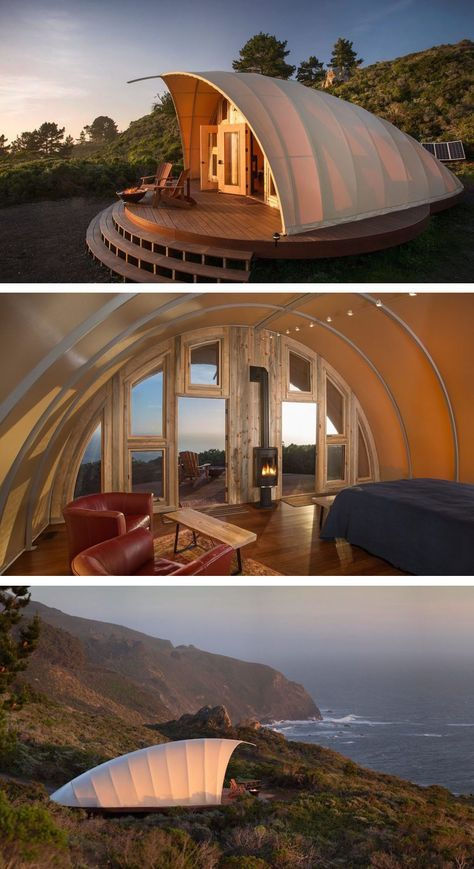Luxury off-grid Autonomous Tents can pop up almost anywhere in the world. Luxury off-grid Autonomous Tents can pop up almost anywhere in the world Tiny House Cabin, Tiny House Design, Modern House Design, Prefabricated Cabins, Tent Design, Dome House, Outdoor Kitchen Design, Backyard Kitchen, Outdoor Kitchens
