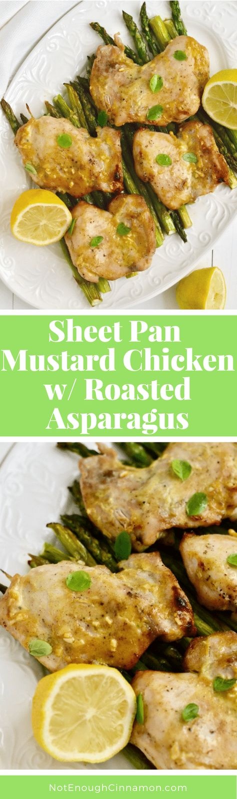 Sheet Pan Mustard Chicken with Roasted Asparagus   Succulent oven-baked Maple Mustard-glazed Chicken Thighs and roasted asparagus all made in one sheet pan! An easy and healthy chicken dinner perfect for spring! #chickendinner, #easyrecipes, #cleaneating, #realfood, #glutenfree, #onepan