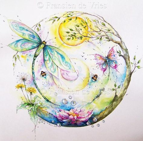 """spiritual art, healing art, intuitive art """"Ode to Nature"""" choice in 2 dimensions print, carries energetic love energy"""