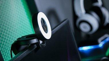 Razer Kiyo Broadcasting Web Camera With Illumination Ring Attached To A Screen Razer Desktop Camera Camera