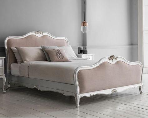 Frank Hudson Chic Silver Linen Upholstered Bed