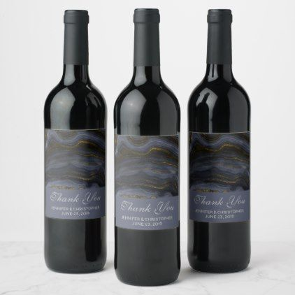 Modern Black Gold Agate Stone Abstract Wedding Wine Label