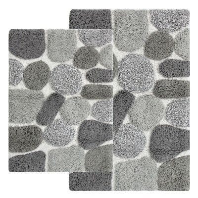 Pebbles Bath Rug Set 2pc Gray Chesapeake Adult Unisex Bath