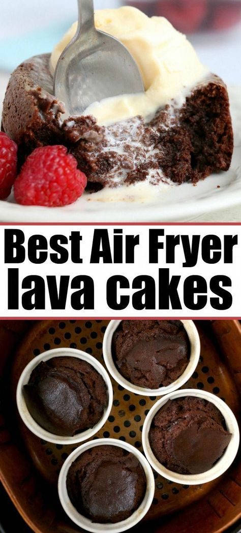 Best Air Fryer Lava Cake in 10 Minutes! : Air fryer cake will become your new favorite dessert! Ooey gooey chocolate lava cake made in ramekins inside your Ninja Foodi or other brand. Air Fryer Recipes Dessert, Air Fryer Oven Recipes, Air Frier Recipes, Air Fryer Recipes Breakfast, Cakes To Make, How To Make Cake, Air Fried Food, Best Air Fryers, Lava Cakes
