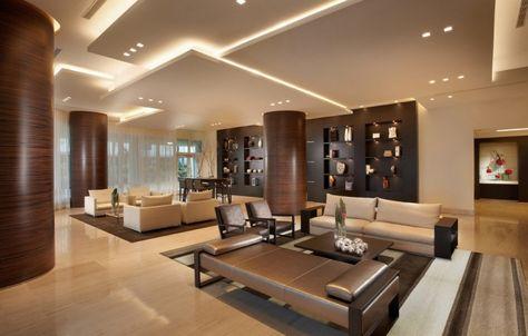 Modernes Wohnzimmer Deckengestaltung Abgehangte Paneele Lichteffekte