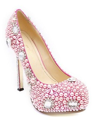 Glamour Shoes Jewelled-Pink , shiny