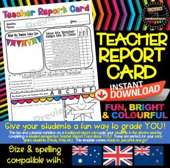 Teacher Report Card Let Your Students Grade You For Fun Aus Nz Uk Compatible Report Card Template Teacher Report Card