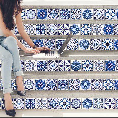 Walplus Stickers 23 7 W X 35 5 L Pvc Peel Stick Mosaic Tile In Spanish Moroccan Blue Blue Tile Wall Blue Tile Floor Blue Tiles