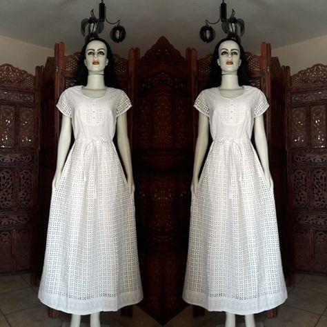 46e4d1176 vestido longo tecido lese branco promoção natal | Roupas brancas ...
