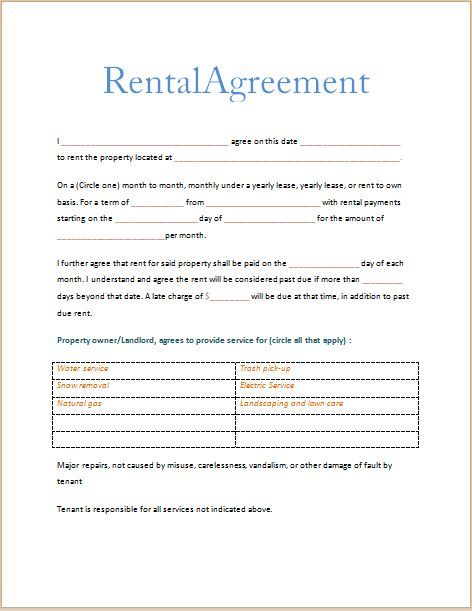 Printable Sample Free Printable Rental Agreements Form Me