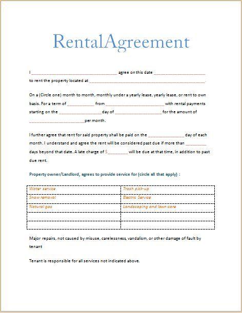 Printable Sample Free Printable Rental Agreements Form Lease