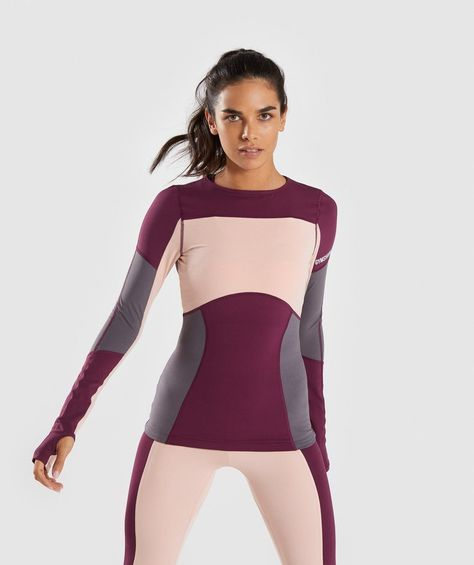 cebf2be5c584a Gymshark Illusion Long Sleeve Top - Dark Ruby Blush Nude Slate Lavender 1