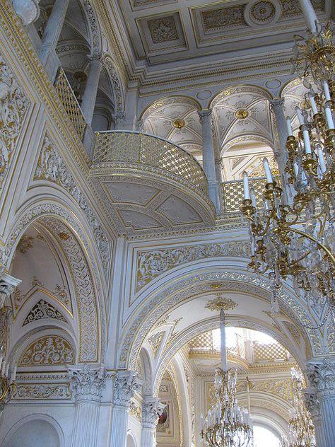 RUSSIA – Pavillion Hall, Small Hermitage, the Hermitage Museum, Saint Petersburg. Architecture Baroque, Beautiful Architecture, Beautiful Buildings, Architecture Details, Interior Architecture, Beautiful Places, Russian Architecture, Palaces, Aesthetic Wallpapers