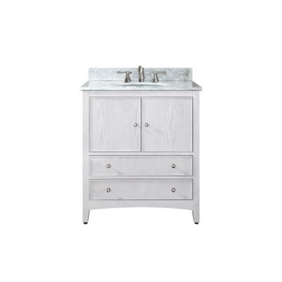 Avanity Westwood 25 In W X 22 In D X 35 In H Vanity In White Washed With Marble Vanity Top In Carrara White And White Basin Westwo Bathroom Bathroom Vanity Tops Marble Top